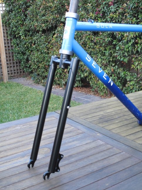 A disc specific rigid fork set up for a Seven MTB for light touring with rack bosses