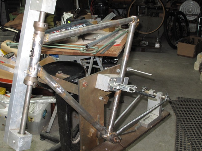 Rear stays assembled in the jig